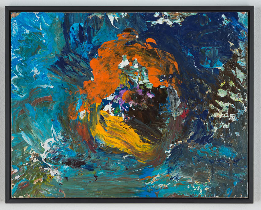 Abstract painting in blues, greens, black with orange and gold in center