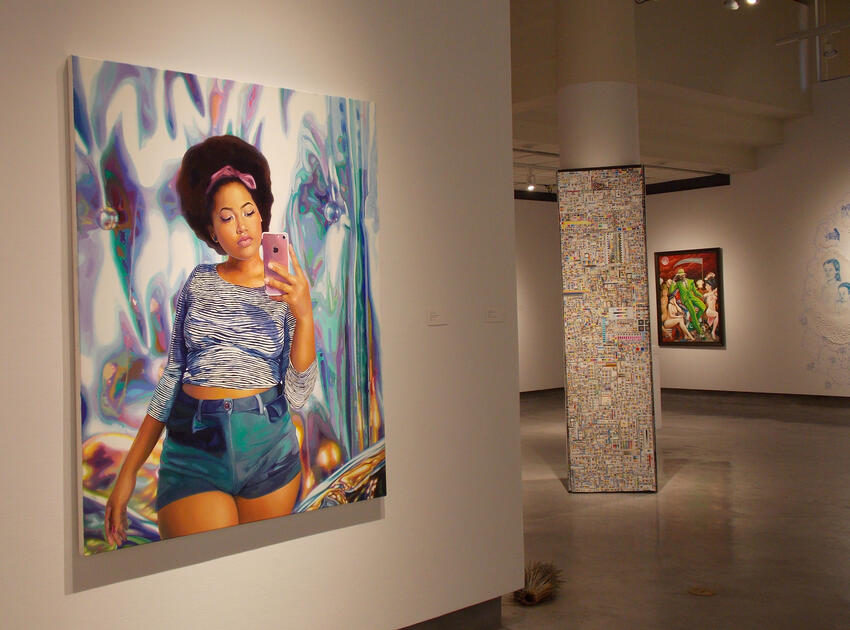 Painting of a young lady in blue shorts and crop top walking and looking at cell phone