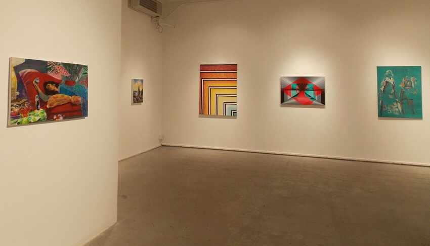 Artwork inside of a gallery.
