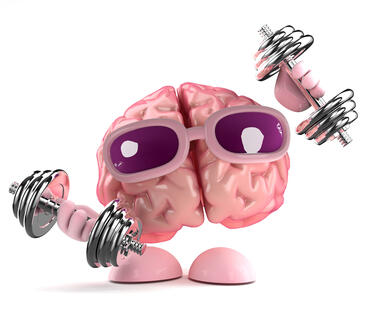 A brain wearing sunglasses with hands and feet and lifting weights.
