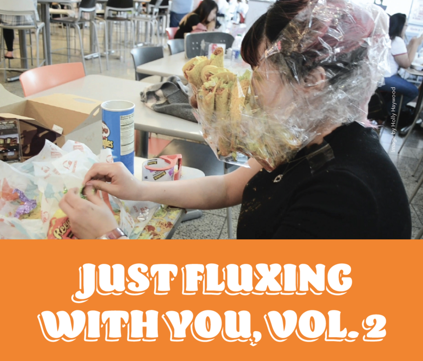 "An image of a person with tacos taped to their face and the title beneath it saying ""Just fluxing with you, Vol. 2"""