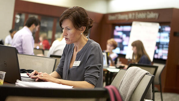 Woman conducting research online