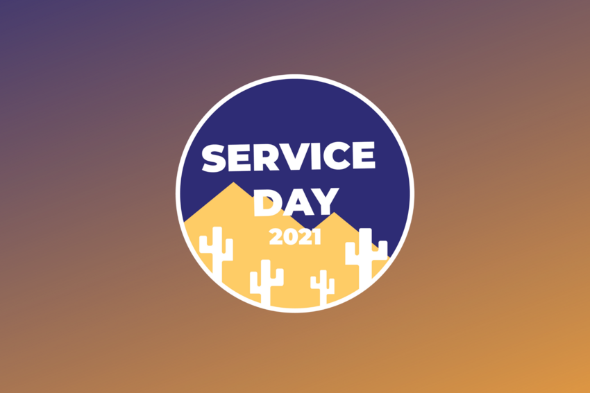 """A graphic of a desert with the words """"Service Day 2021"""" on it."""
