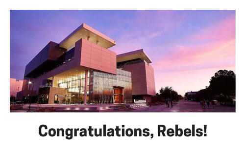 """Image of Hospitality Hall with the label: """"Congratulations, Rebels!"""""""