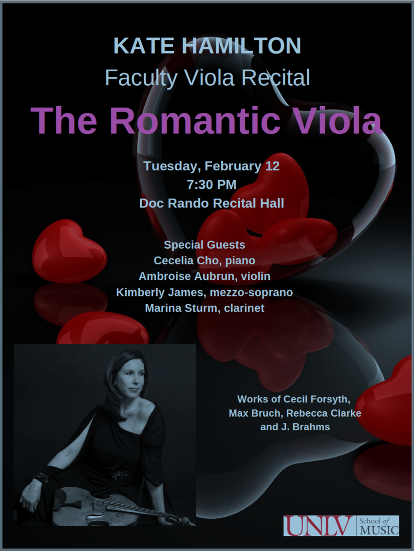 Poster - Kate Hamilton Faculty Viola Recital: The Romantic Viola
