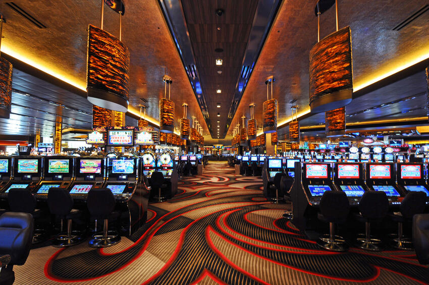 Casino with rows of slot machines