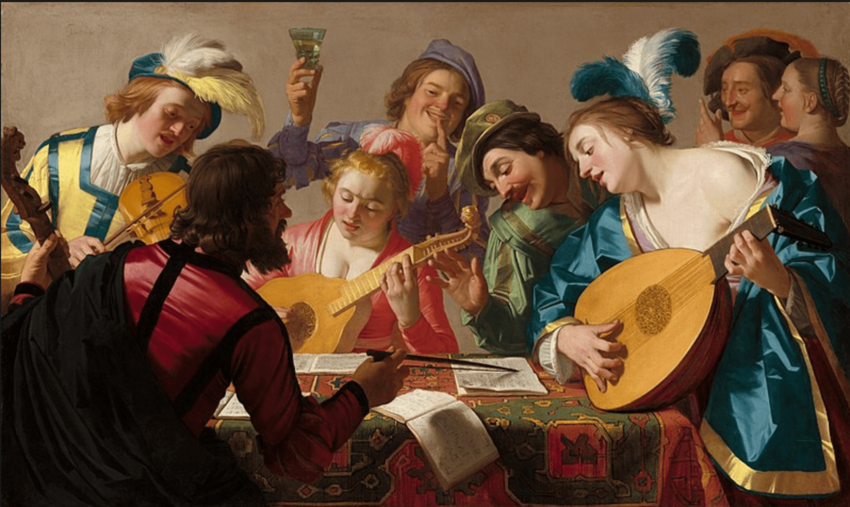 Painting of musicians performing