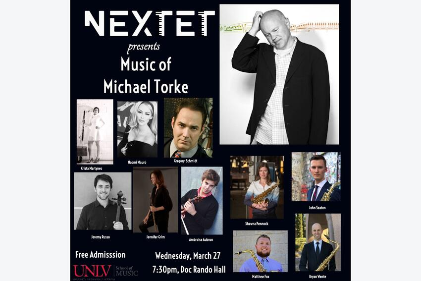 NEXTET poster with images of Michael Torke and other performers.