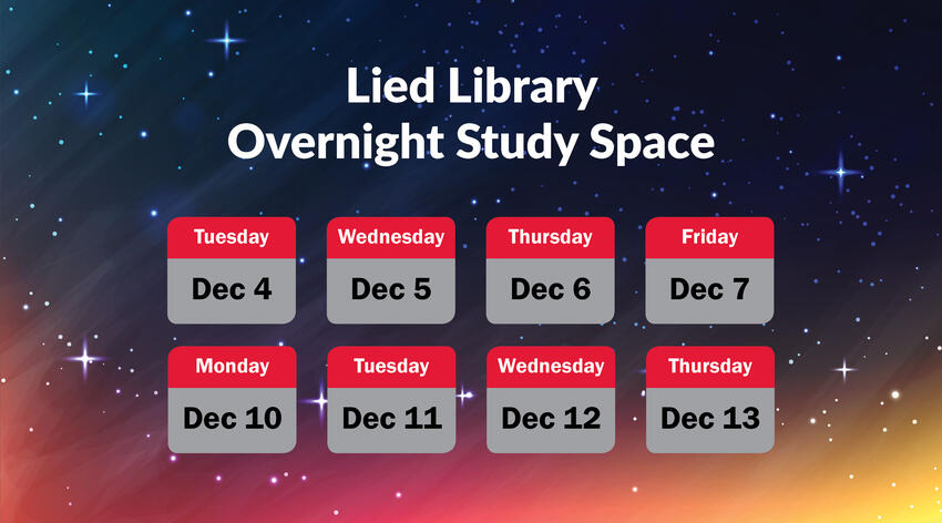 Lied Library overnight study space poster