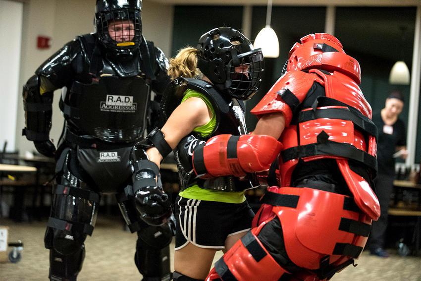 Participants practicing defense.