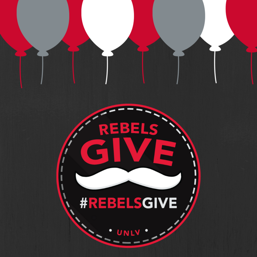 Rebels Give logo below balloons