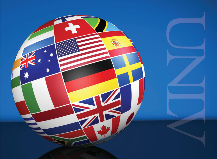a globe with multiple flags