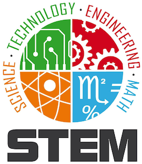 A graphic depicting multiple STEM (science, technology, engineering, math) icons.