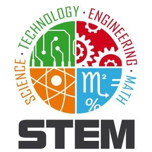 Logo for Stem that says science, technology, engineering, and math