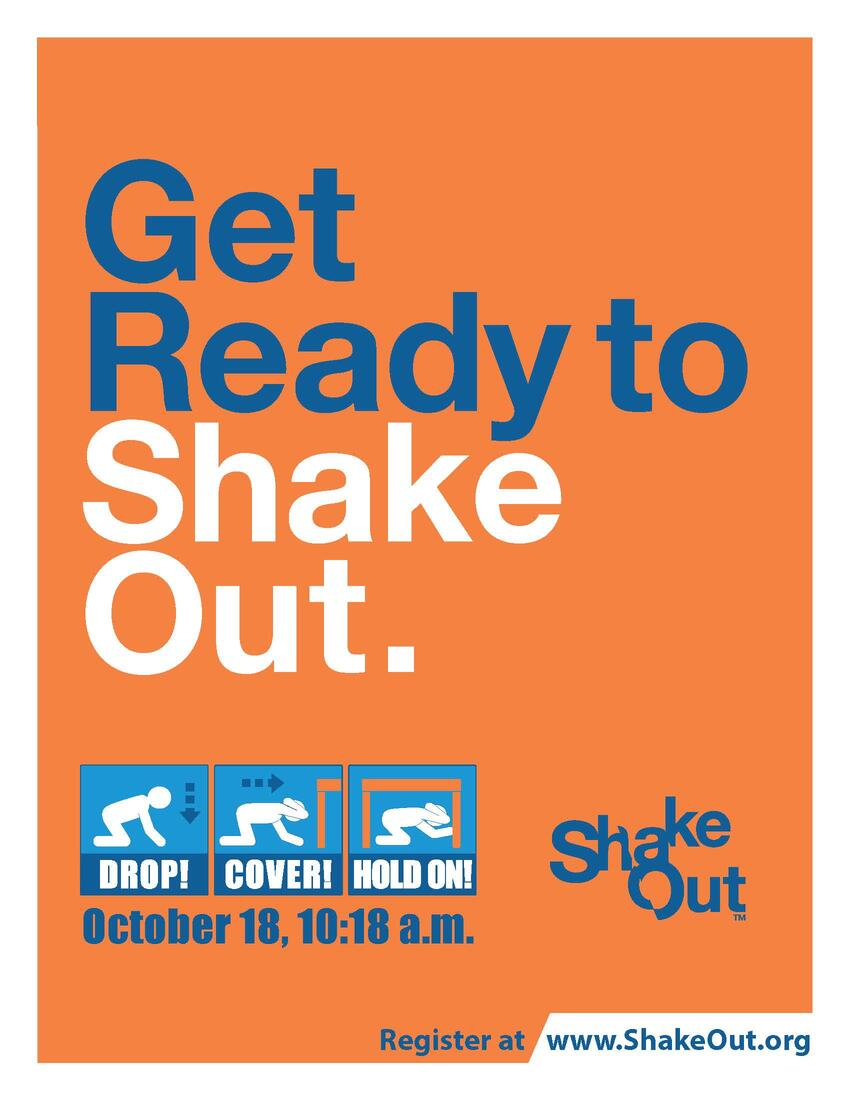 Shake Out Earthquake drill poster