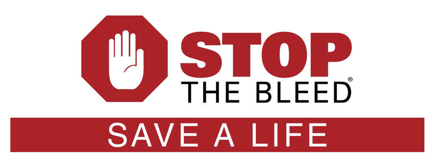 "A stopsign logo with the title ""Stop the Bleed: Save a Life"""