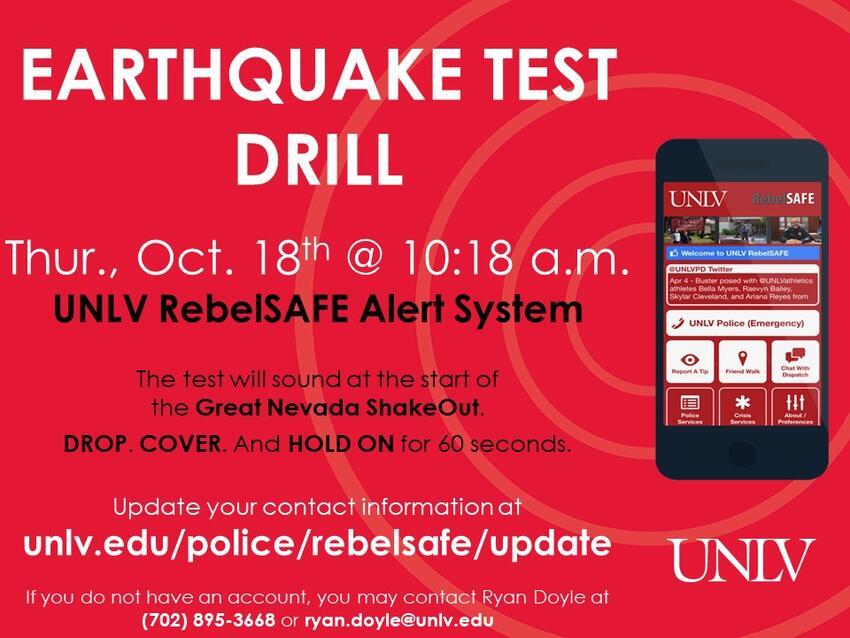 Earthquake test drill flyer