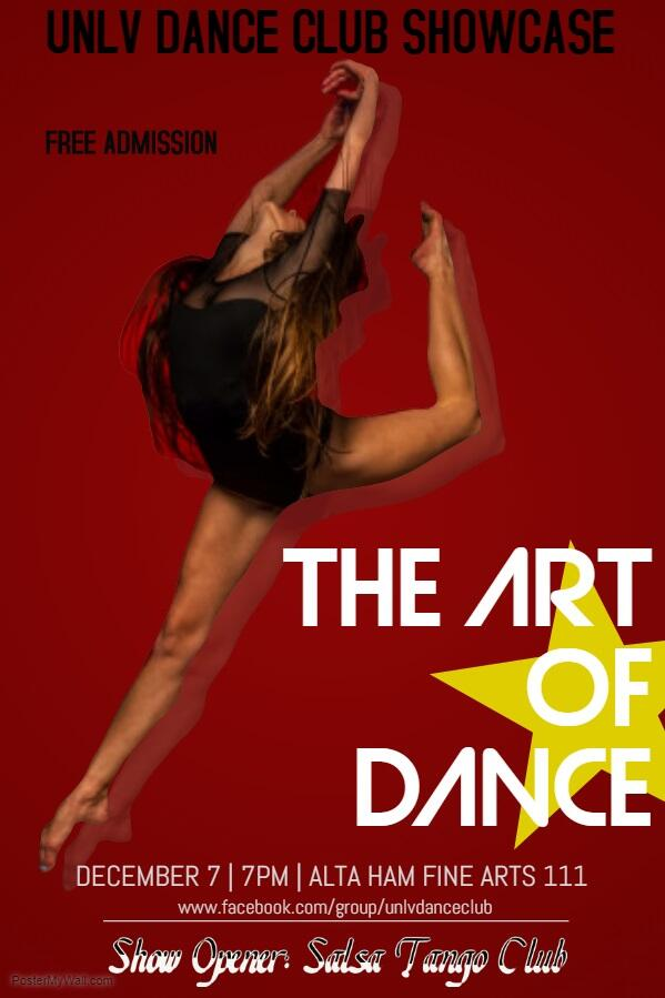 UNLV Dance Club Showcase poster - female in dance position