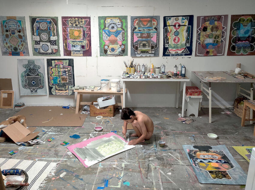 The artist's studio and son Wesley (2020).