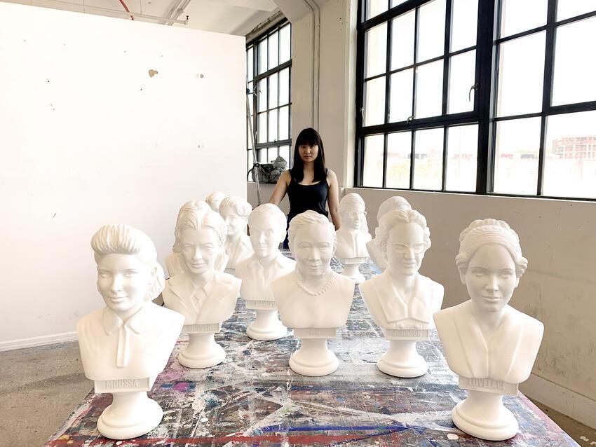 Amanda Phingbodhipakkiya with busts.