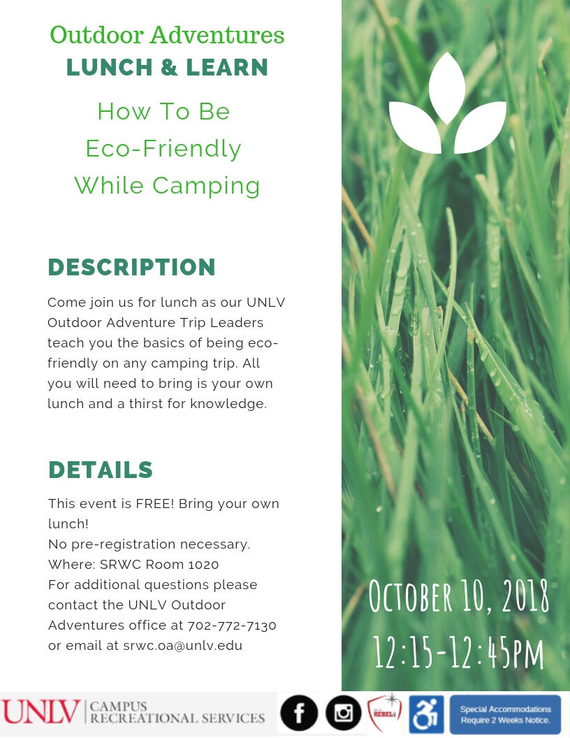 Outdoor Adventures Lunch & Learn flyer