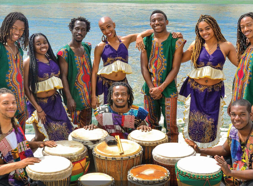 African dancers with their drums