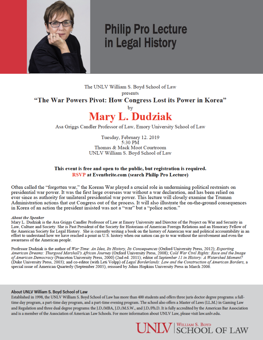 Philip Pro Lecture in Legal History flyer: Mary L.Dudziak
