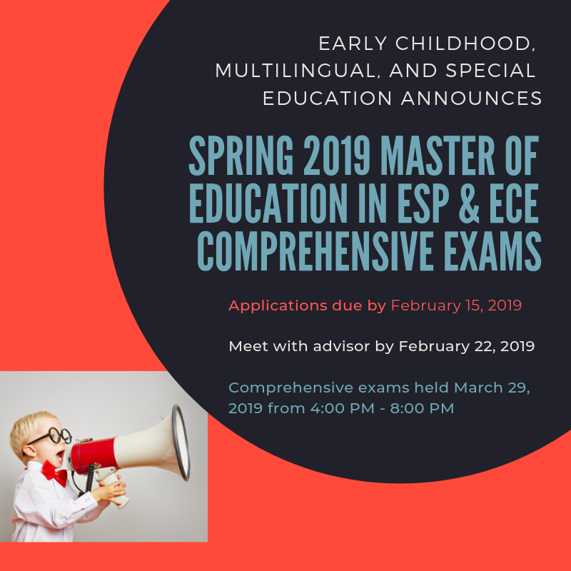Spring 2019 Master of Education in ESP & ECE Comprehensive Exams poster