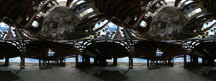 An photo artpiece of a 360 degree view of the inside of a building, by Travis Allen.