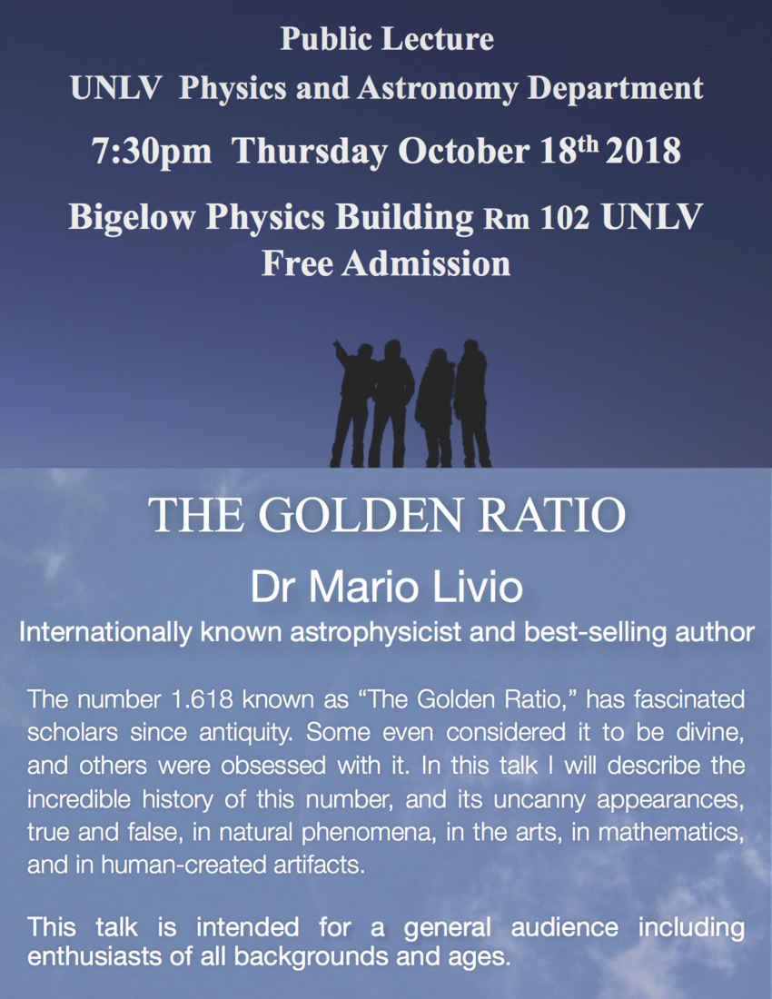 UNLV Physics and Astronomy Department Public Lecture Poster: The Golden Ratio by Dr. Mario Livio