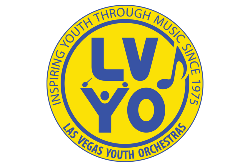Las Vegas Youth Orchestras Logo. Text: Inspiring Youth Through Music Since 1975.