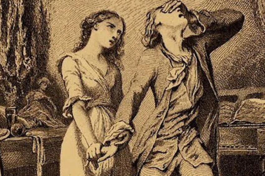 """An image from the cover of """"Sorrows of Young Werther:"""" A woman holding a man's hand while he's experiencing sorrow."""