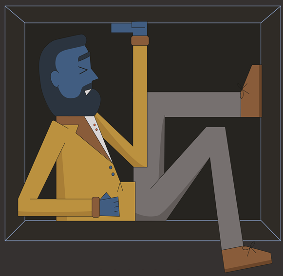 A drawing of a bearded man in a box with a blue face