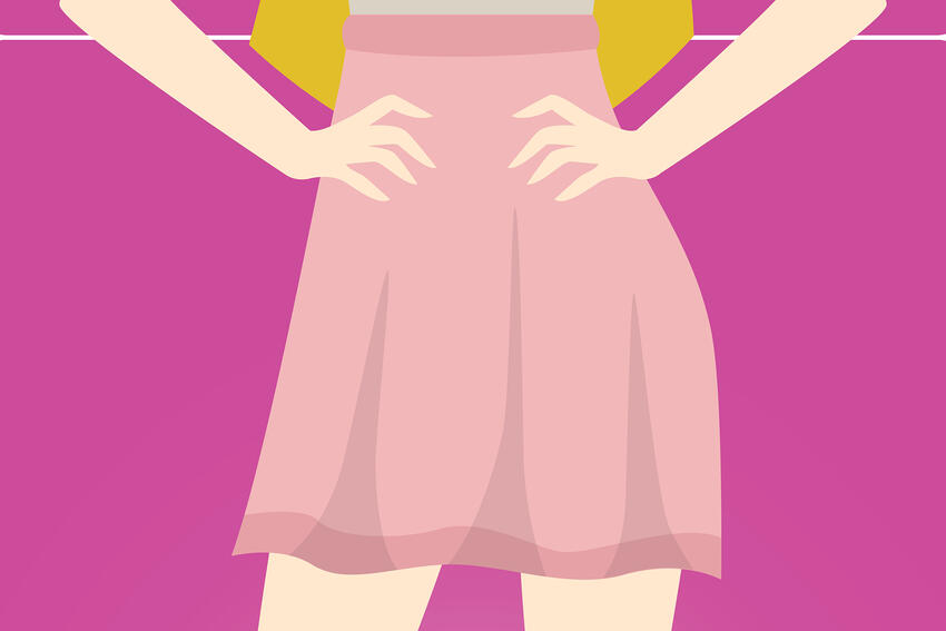 Graphic of girl in skirt