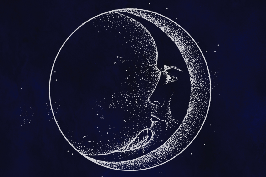 Drawing of Person in Moon